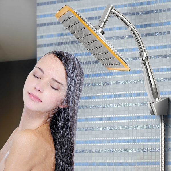 Wish   Square Rainfall Shower Head Massage Extension Gooseneck Arm ...