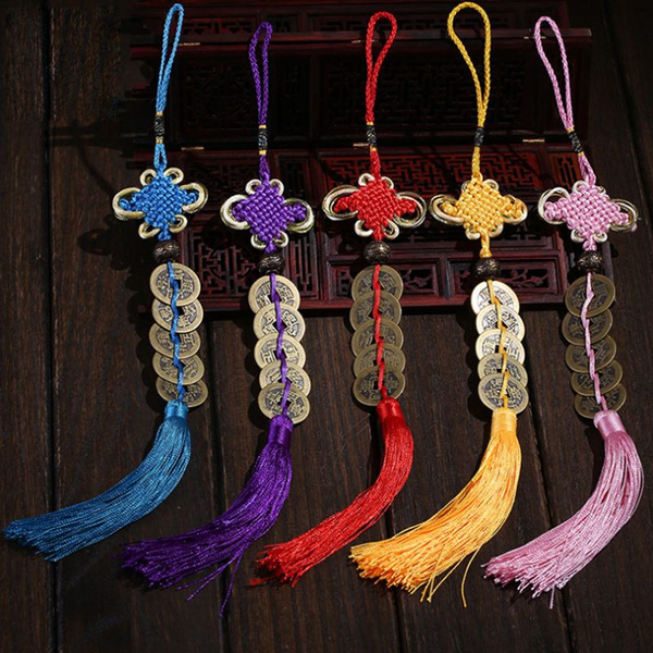 9 Colors Chinese Lucky Feng Shui Car Mirror Pendant Lucky Charm Symbol Good  Fortune Attract Wealth & Good Luck Coins Hot