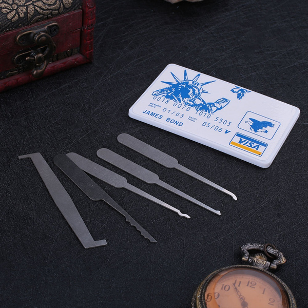 5 In 1 Credit Card Lock Pick Kit Lock Opener Locksmith Train Tool Practice  Set