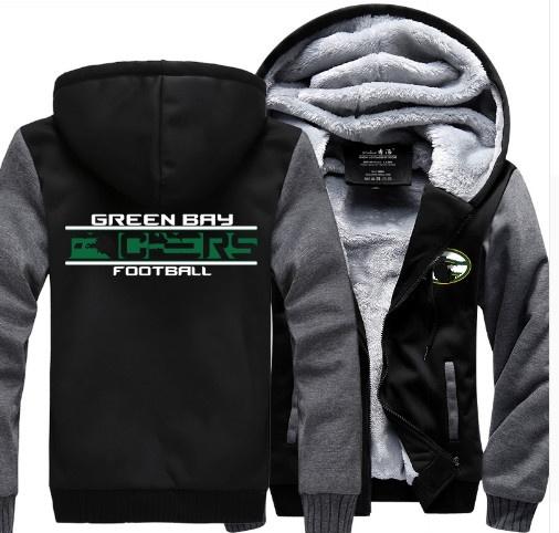 f4e45fb5 Green Bay Packers Thickened Zipper Hoodie Coat Cashmere Hoodies Warm Winter  Jacket Fleeces Hoodie Sweatshirts
