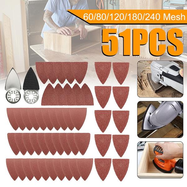 25 PCS Aluminium Oscillating Multi Tool Grits Triangular Sandpaper Sanding Pads Abrasive Sandpaper 60//80//120//180//240#