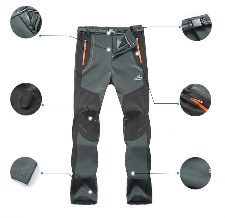 Men Warm Outdoor Hiking Ski Pants Fleece Padded Windproof Waterproof Trousers