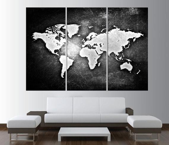 Wish Panels Large Size Vintage World Map Design Creative Black - Black and white vintage world map