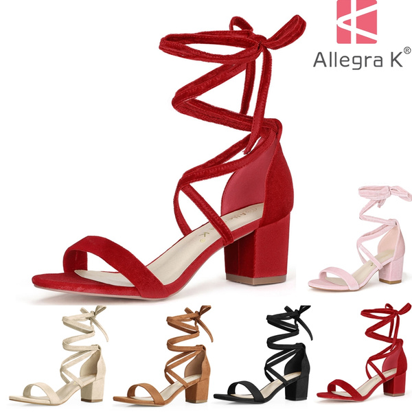 efa8318d499b5 Allegra K Women Open Toe Ankle Cross Straps Lace Up Sandals Mid ...