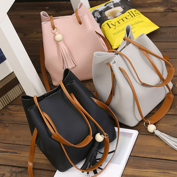 Picture of Sale Fashion Women Leather Tassels Single Shoulder Bucket Bag+clutch Bag Modern
