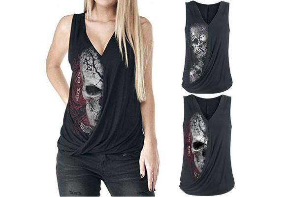 Women's Fashion Skull Print Sleeveless Cotton Top Vest