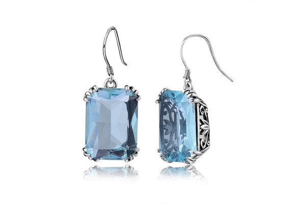 Aquamarine Dangles Earrings For Women Vintage 925 Sterling Silver Romantic Wedding Ladies