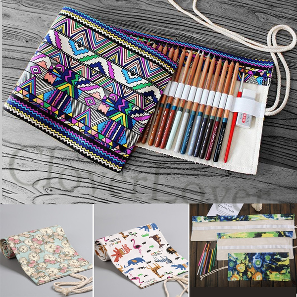 Picture of Geometric Pattern Canvas Roll Up Pencil Bag 36/48/ 72 Slots