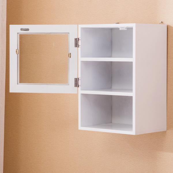 Wish Wall Mount White Cine Cabinet Shelf W Mirror Door Bathroom Kitchen Storage