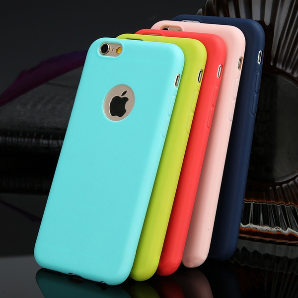 Picture of Case For Iphone 5/5se 6/6s Plus 7/7 Plus Candy Colors Soft Tpu Silicon Phone Cases For Iphone 6 7 Plus Coque With Logo Window