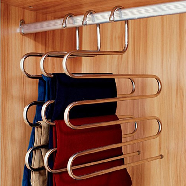 Fashion Pants Hanger Trousers Organizer Hanging Clothes Rack Hanger Layers Clothing Storage Space Saver Closet Organization Home Decor by Wish