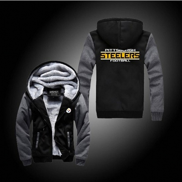 reputable site f9ae2 defba Pittsburgh Steelers Thickened Winter Warm Cashmere Jacket Plus Size