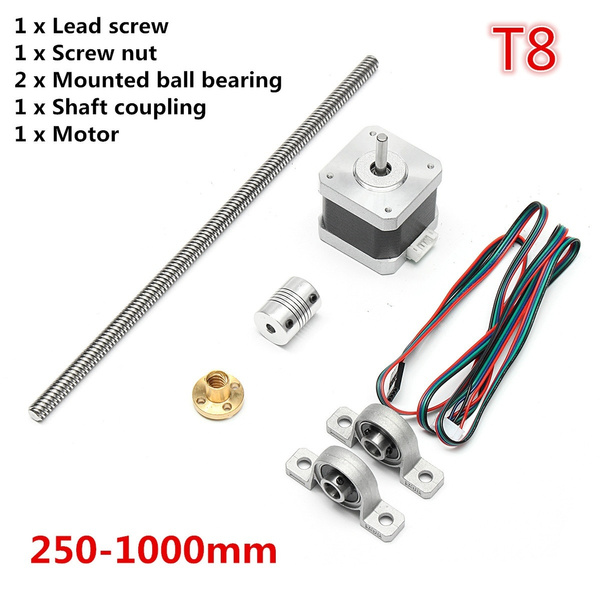 3D Printer Kits 250-1000mm T8 Trapezoidal Stepper Stainless Steel Lead  Screw Rod Bar + Coupling Shaft + 2 Mounted Ball Bearing + Screw Nut + Motor