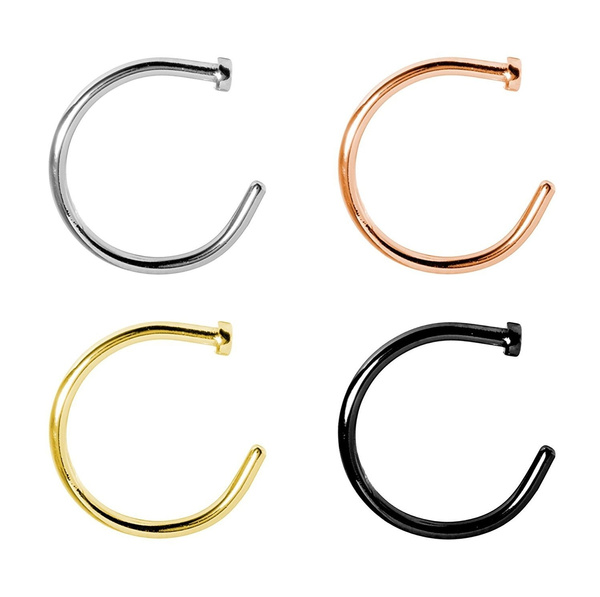 4pc Nose Ring Hoop 4 Pieces Pack Surgical Steel 18g 3 8 Length Wish