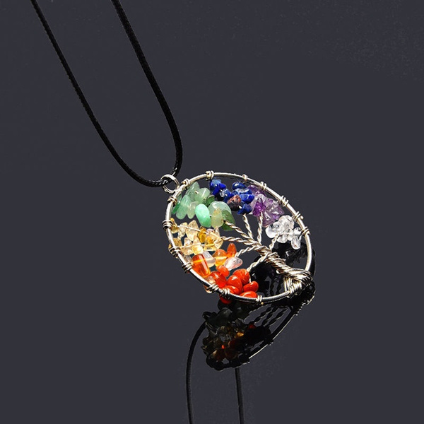 Vintage Women S Girl Natural Crystal Quartz Gemstone 7 Chakra Healing Tree Of Life Pendant Necklace Jewelry Gift Hot Jz (Color: Multicolor)