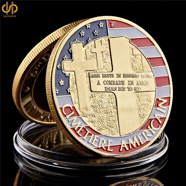The Normandie War Antique Gold Plated America Challenge Coin 403mm With Round Acrylic Box For Collection