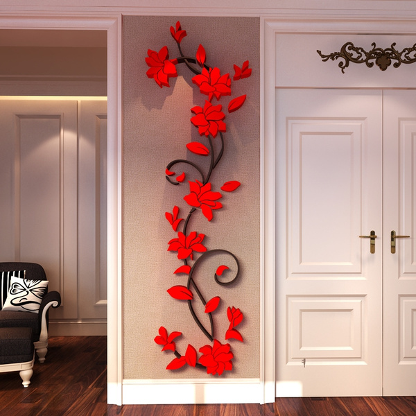 Picture of Diy Decal Home Decor Removable Acrylic 3d Rose Flower Wall Sticker Vinyl Art Living Room Bedroom Tv Background