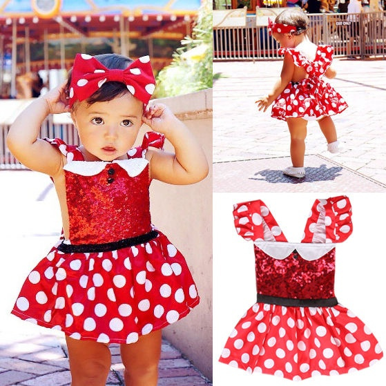Kids Baby Girls Lovely Minnie Mouse Cotton Skirts Party Princess Dress For 1-6Y