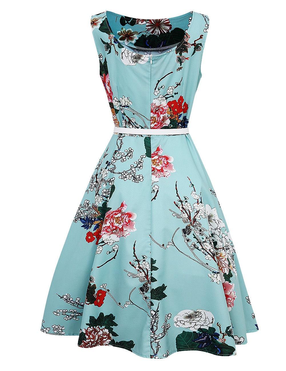 US Women 50s 60s Vintage Retro Peony Floral Rockabilly Evening Party ...