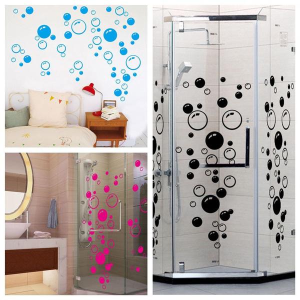 Noir / rose chaud / bleu Bulle Autocollant mural Papier peint décoration  murale décoration salle de bain LIS FR