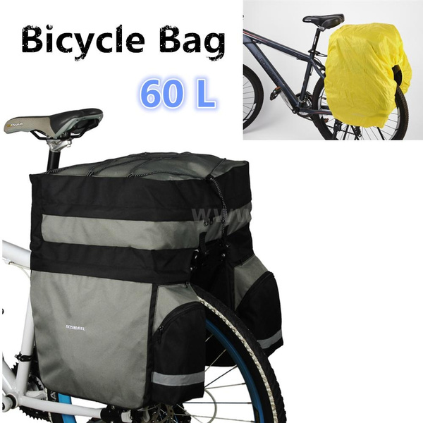 ROSWHEEL 60L Cycling Bicycle Bag Double Side Rear Rack Tail Seat Trunk Bag  ZX8C[Black and grey]
