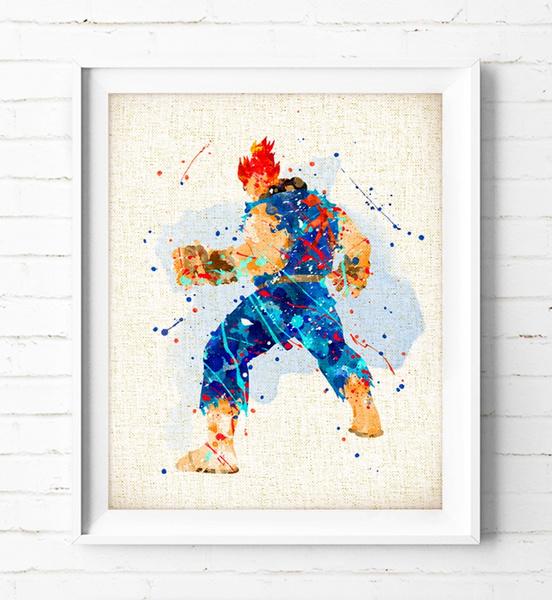 Street Fighter Poster Akuma Art Print Watercolor Painting Burlap