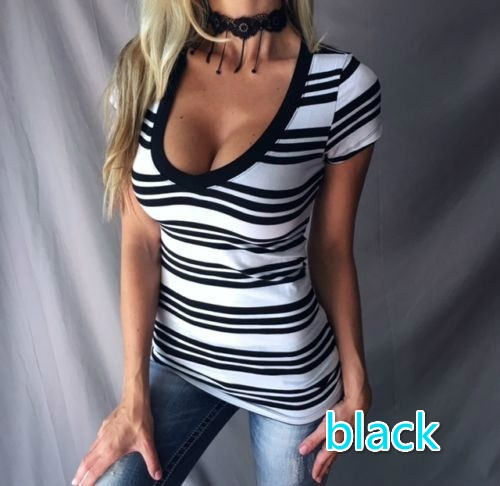 2017 Women's Sexy Scoop V-neck Stripes Tops Short Sleeve Slim Fit T-shirts