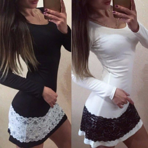 New Fashion Women Sexy Bodycon Long Sleeve Lace Mini Short Pencil Dress