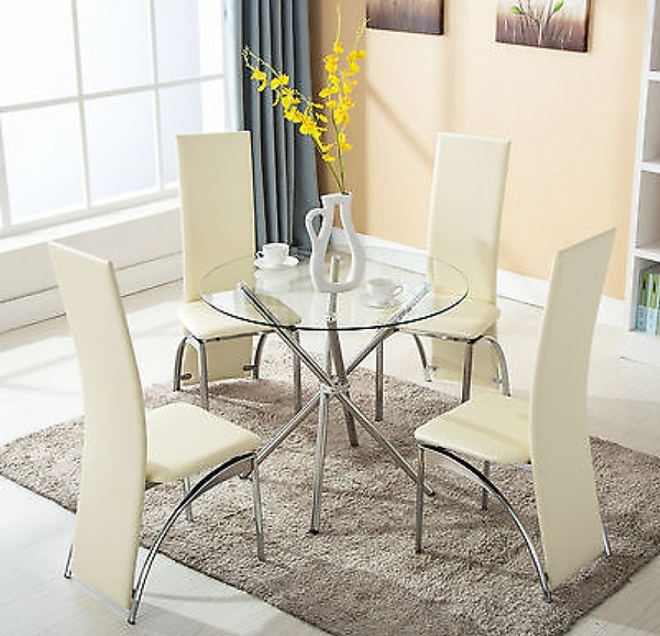 Wish   Fashion 5 Piece Round Glass Dining Table Set 4 Chairs Kitchen Room  Breakfast Furniture