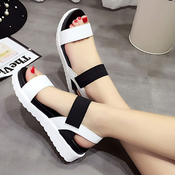 Picture of Simple Flat Shoes Student Sandals Platform Elastic Band Casual Flat Heel Women's Shoes