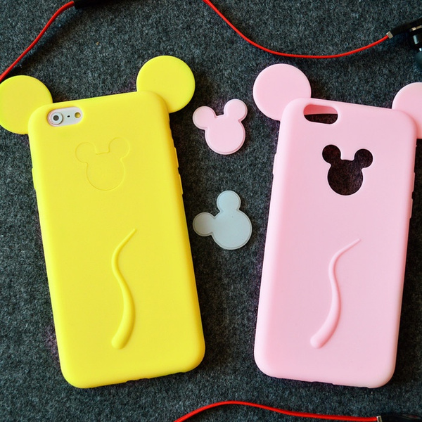 Colorful Cartoon fluorescent Cute Ear mickey Case For IPhone 7 Phone Covers