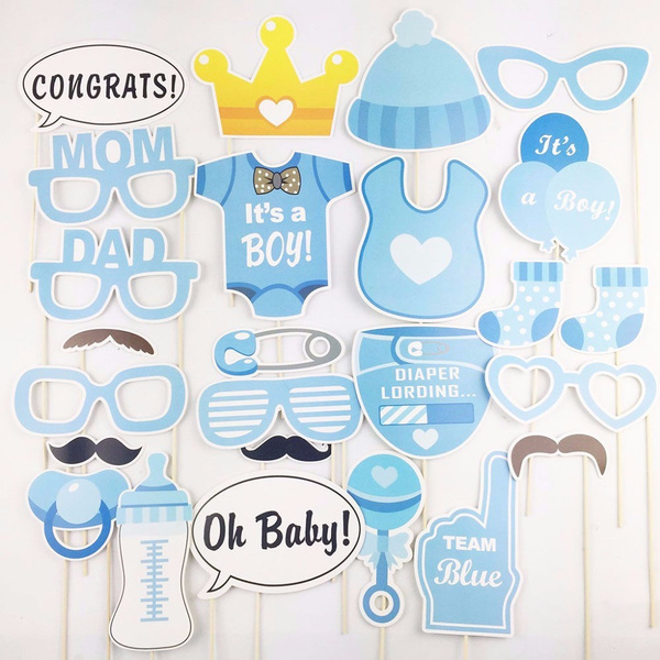 25Pcs/Set Fashion Hot Sale Creative DIY Baby Shower Decor Party Event  Supplies Photo Booth Props Baby Shower Favor Supplies Masks Glasses Decor