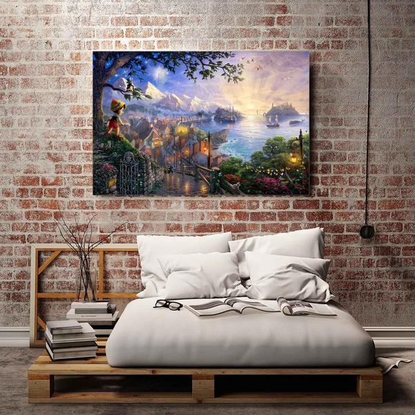 Wish   Thomas Kinkade Pinocchio Wishes Upon A Star Oil Painting HD ...