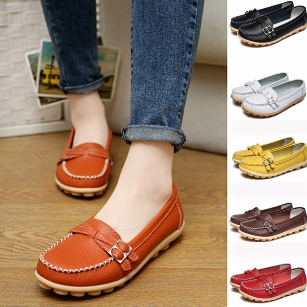 Picture of Size 35-42 Ladies Casual Loafers Shoes Genuine Leather Women Flat Shoes
