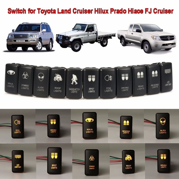 Orange LED ALIEN LIGHT Push On-Off Switch For Toyota Landcruiser Hilux Prado  ^