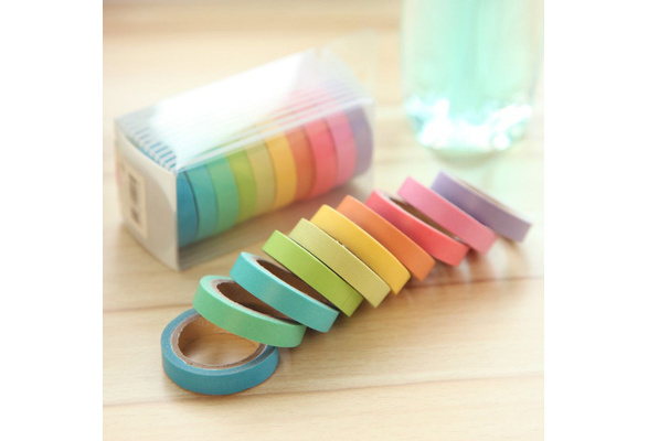 Deco Sticky Masking Tape 0.75cm?5m Writing Dentelle Scrapbooking Masking Tape Lot 10 Candy Color Students Children Favorites Office Stationery 10 X Rainbow Roll Paper Masking Crafts Sticky Adhesive Sticker Decorative Washi Tape Rolls Writable