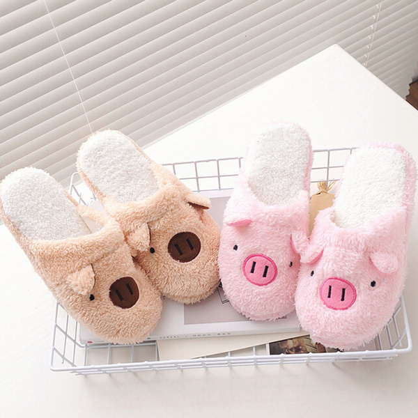 Picture of Lovely Pig Home Floor Soft Stripe Slippers Female Cute Shoes