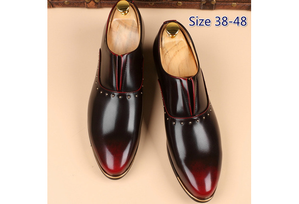 Men's Fashion Business Leather Pointed Toe Shoes Wedding Casual Dress Shoes Plus Size 38-48