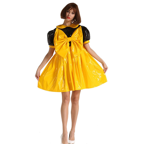 Big Yellow Bow Sissy Maid Lockable Pvc A Line Dress Costume For