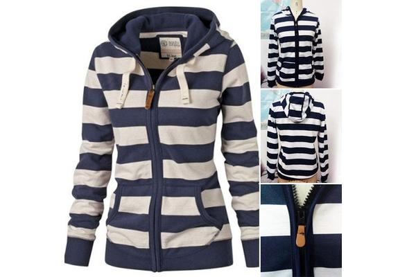 PRETRY Casual Long Sleeve Hooded Zipper Cotton Blends Striped Women's Hoodies Coats wptcyC16122400243C15