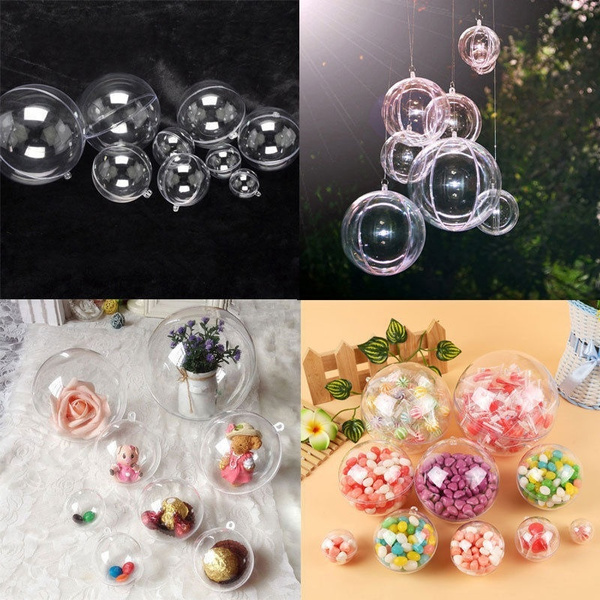 10×Clear Plastic Craft Ball Acrylic Transparent Sphere Bauble,christmas baubles