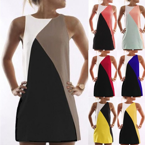 Picture of Fashion Summer Women Sexy Sleeveless Dress Spell Color Party Dress Elegant Mini Dress