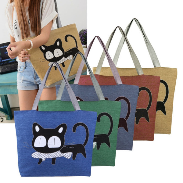 Picture of Women Canvas Cat Printed Beach Large Tote Bag Shopping Bag Shoulder Handbag