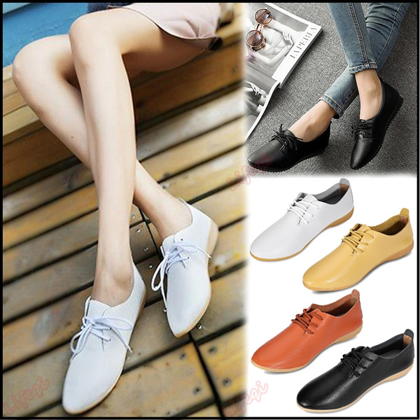 Picture of Women Fashion Vintage Solid Color Lace Up Casual Flat Shoes For Americans And Europeans The Size Is Relatively Small And Choose A Larger Size