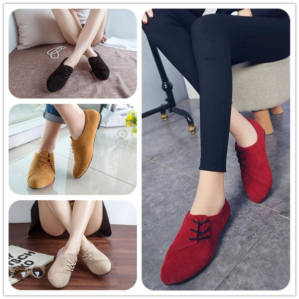 Picture of Casual Solid Color Nubuck Leather Lace Up Round Toe Flat Shoes For Women