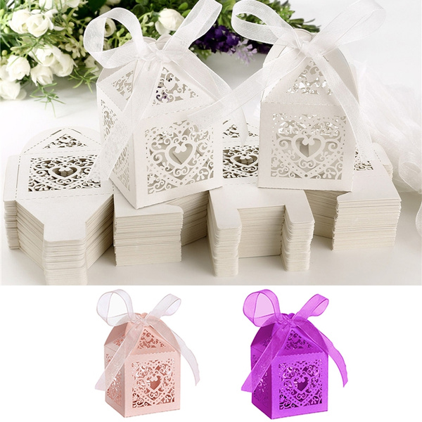 50Pcs Love Heart Laser Cut Candy Favor Gift Boxes W//Ribbon For Wedding Party