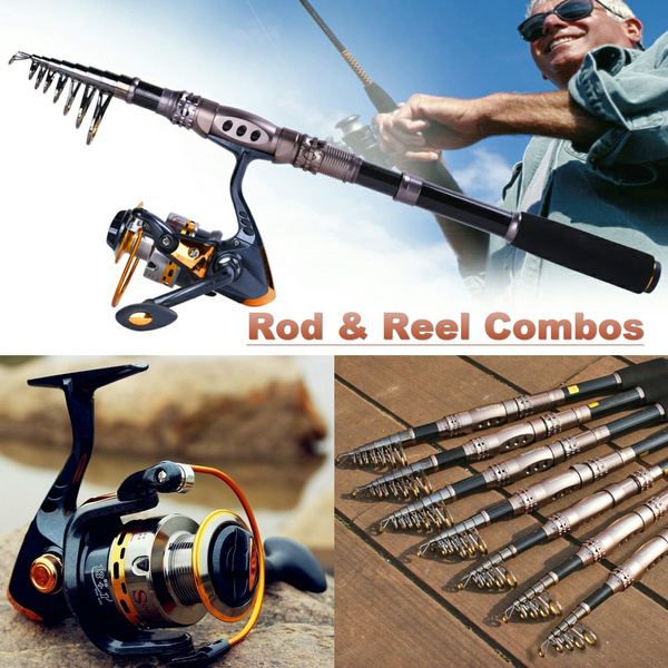 Sougayilang Spinning Rod and Reel Combos Carbon Telescopic Fishing Rod Reel  Kit Combo for Saltwater Freshwater Fishing