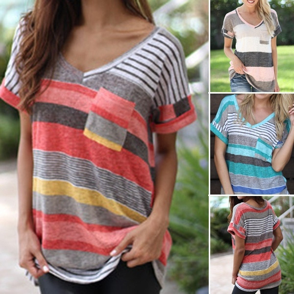 Picture of Stripes Printed T-shirt V-neck Irregular Loose Casual Short Sleeve Summer Plus Size Tops