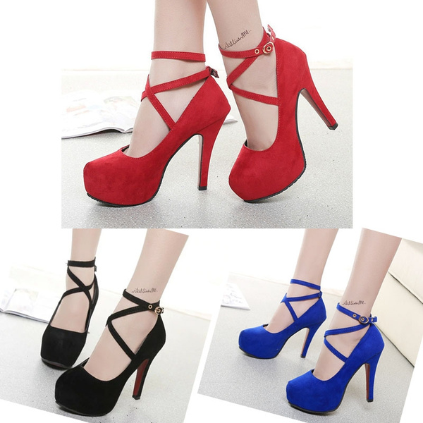 Picture of Spring Women High Heeled Shoes Platform Buckle Wedding Shoes