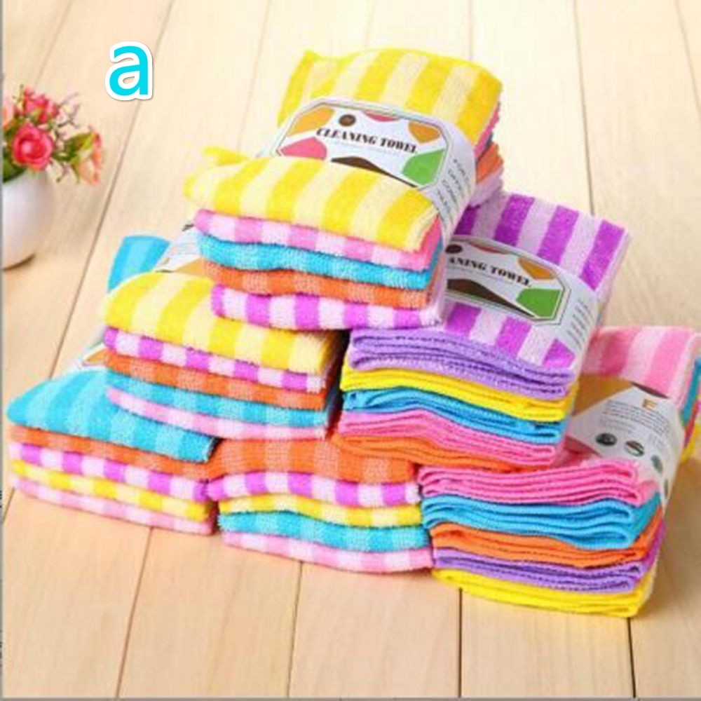 Picture of 5pcs Water Kitchen Colorful Dining Stripe Tower Cloth Square Microfiber Color Multicolor